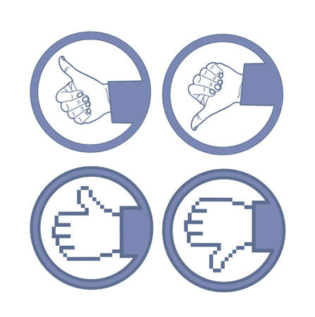 Illustration of hand with thumb up and down, vector illustration Vector