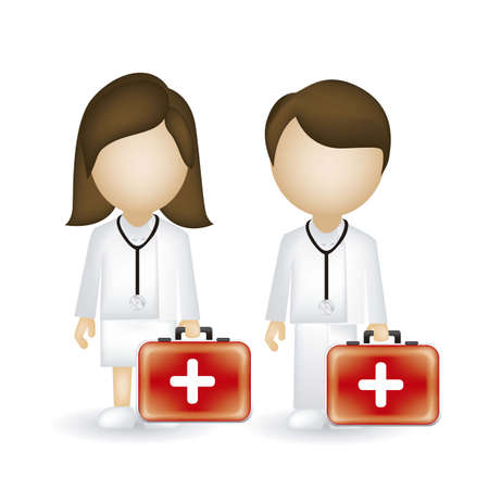 illustration of a male and female doctor isolated on blue background, vector illustration  Vector