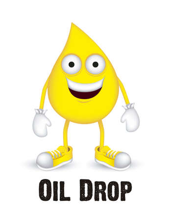 oil drop: Illustration of oil drop with shoes and gloves, vector illustration