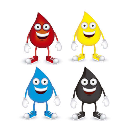 water shoes: Illustration of blood, oil, petroleum and water drops, with shoes and gloves, vector illustration