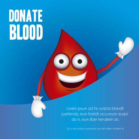 Illustration of blood drop with shoes and gloves, donate blood, vector illustration Vector