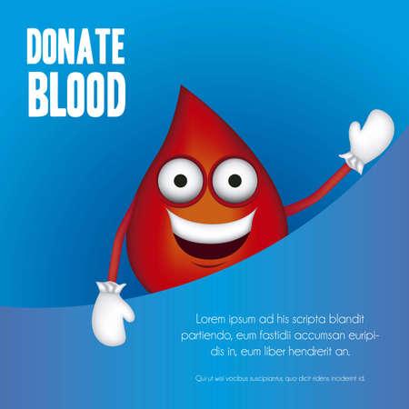 Illustration de la goutte de sang avec des chaussures et des gants, un don de sang illustration vectorielle,