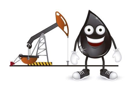 неочищенный: Иллюстрация капли petroelum на нефтяной насос, векторные иллюстрации