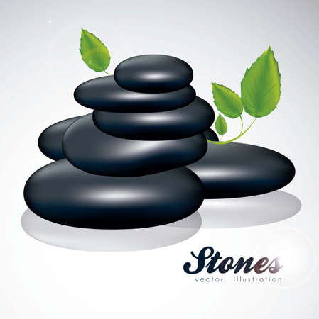 illustration of black stones with green leaves isolated on white background, vector illustration Stock Vector - 14984481