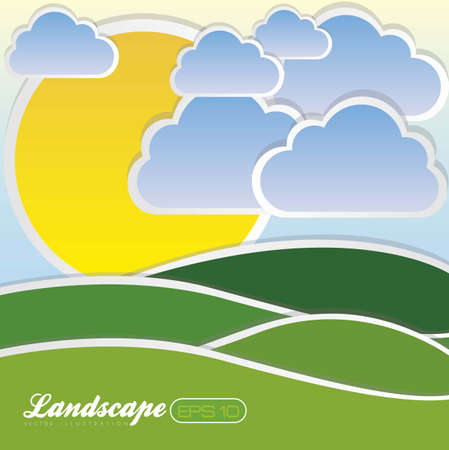 illustration of landscape with clouds and sun, vector illustration Stock Vector - 14984227