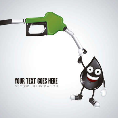 illustration of gasoline dispenser hanging oil drop, vector illustration Illustration