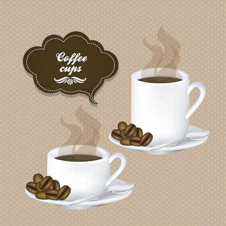 Illustration of cups of steaming coffee on plate, vector illustration Vector