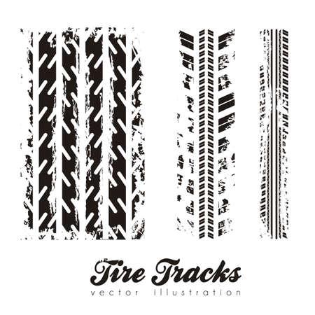 motricit�: illustration de traces de pneus sur fond blanc, illustration vectorielle Illustration