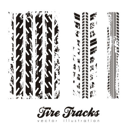trace: illustration of tire marks on white background, vector illustration Illustration