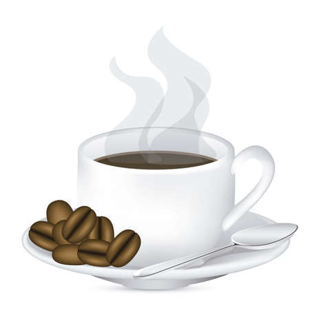 Illustration of a cup of steaming coffee on plate, vector illustration Vector