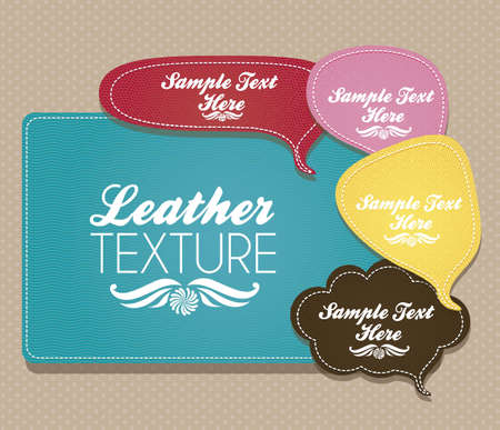 illustration of text balloons with leather texture, vector illustration Vector