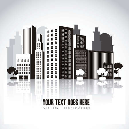 business building: illustration of black and white buildings, with perspective, isolated on white background, vector illustration