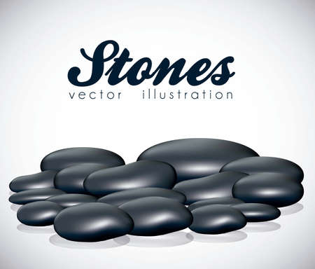 illustration of black stones isolated on white background, vector illustration Stock Vector - 14984430