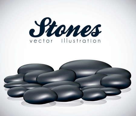illustration of black stones isolated on white background, vector illustration Stock Vector - 14984430