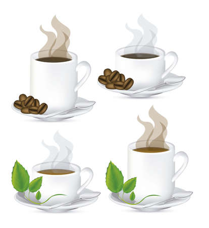 Illustration of a cups of steaming coffee and tea on plate, vector illustration Illustration