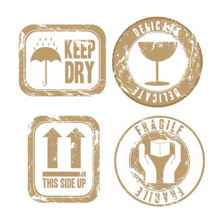 the handle: ilustración del grunge de los sellos de embalaje aislado en fondo beige, ilustración vectorial