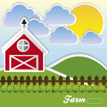 illustration of a farm with mountains, clouds and sun, vector illustration Vector