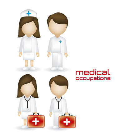 pharmaceuticals: illustration of people in the health sector, doctors and nurses, vector illustration Illustration