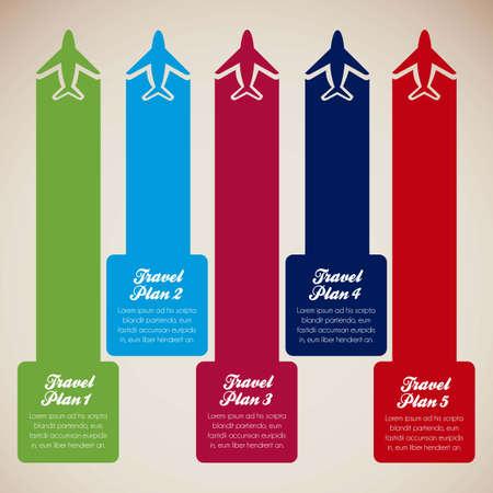 flightpath: Aircraft illustrations with colored stripes, travel plans, vector illustration Illustration