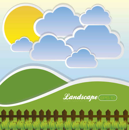 illustration of landscape with clouds and sun, vector illustration Stock Vector - 14984506