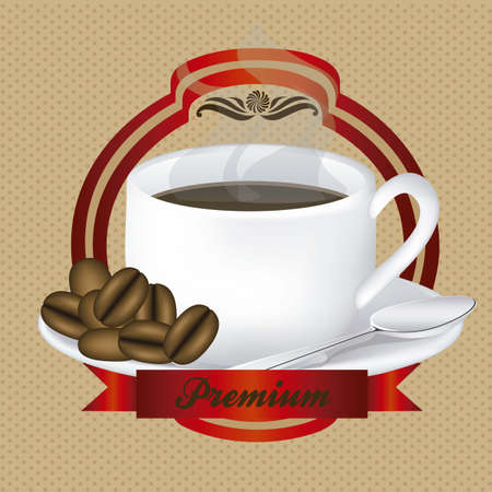 label  of a cup of steaming coffee on plate, vector illustration Vector