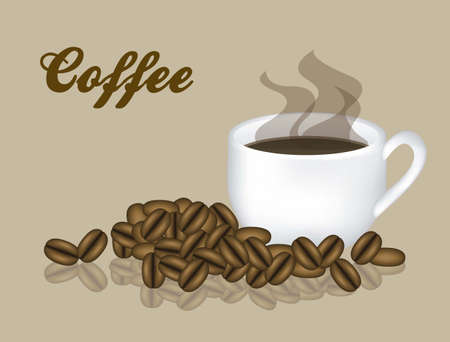 Illustration of a cup of steaming coffee with coffee beans, vector illustration Vector