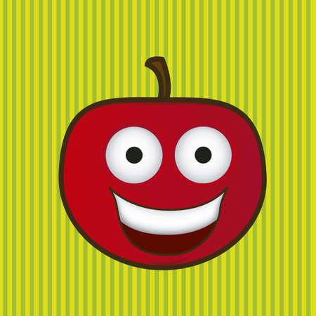 Pomme de dessin animé avec de grands yeux et un sourire grand, illustration vectorielle Banque d'images - 14984025