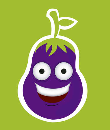 Cartoon eggplant with big eyes and big smile, vector illustration Stock Vector - 14984011