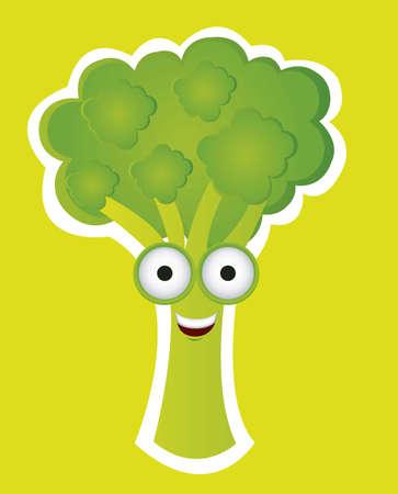 Cartoon of broccoli with big eyes and big smile, vector illustration Vector