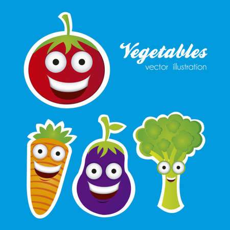 market gardening: Cartoon vegetables with big eyes and big smile, vector illustration Illustration
