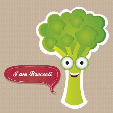 Cartoon of broccoli with big eyes and big smile, vector illustration