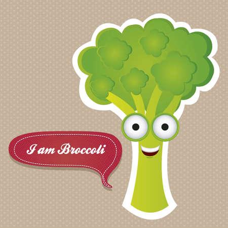 kid eat: Fumetto di broccoli con occhi grandi e sorriso grande, illustrazione vettoriale