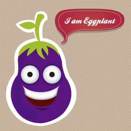 Cartoon eggplant with big eyes and big smile, vector illustration Stock Vector - 14984482