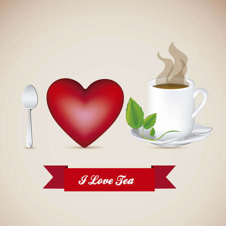 Illustration of a cup of steaming tea, I love tea, vector illustration Vector