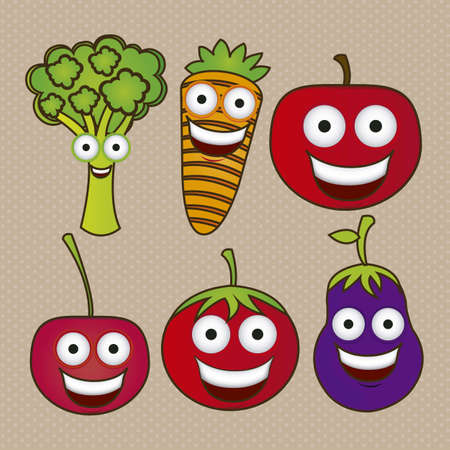 vegetable cartoon: Cartoon fruits with big eyes and big smile, vector illustration