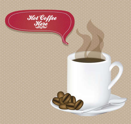Illustration of a cup of steaming coffee with coffee beans, vector illustration