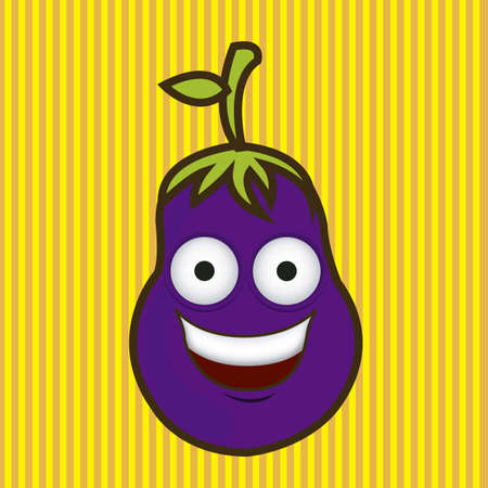 Cartoon eggplant with big eyes and big smile, vector illustration  Vector