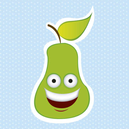 Cartoon pear with big eyes and big smile, vector illustration  pineapple