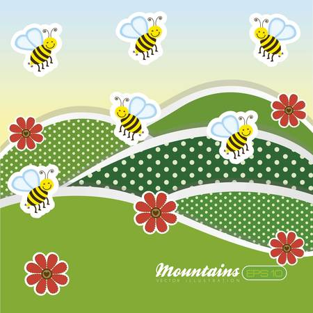 illustration of  landscape with flowers and bees, vector illustration Vector