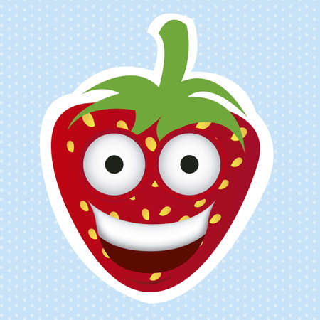 Cartoon strawberry with big eyes and big smile, vector illustration Illustration