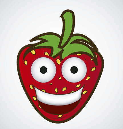 big smile: Cartoon strawberry with big eyes and big smile, vector illustration Illustration