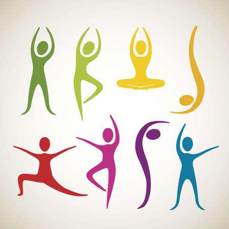 gymnastik: Illustration av yoga och dans positioner, vektor illustration