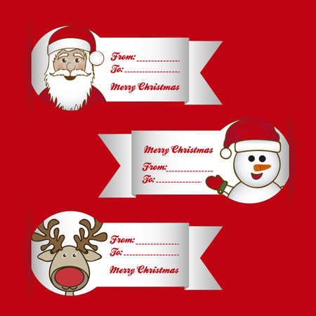 Illustration of Christmas cards with characters, vector illustration Stock Vector - 15084063