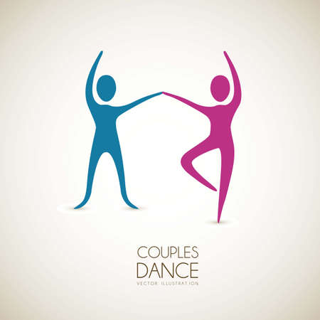 distension: Illustration of couples dance positions, vector illustration
