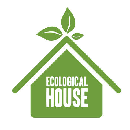renewable resources: Illustration recycling, ecological house with green leaves, vector illustration Illustration