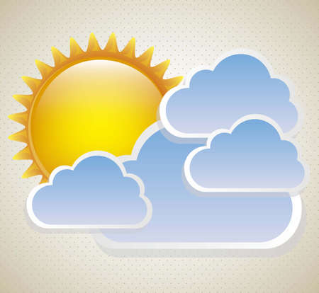 synopsis: Cartoon illustration of a sun surrounded by clouds, vector illustration