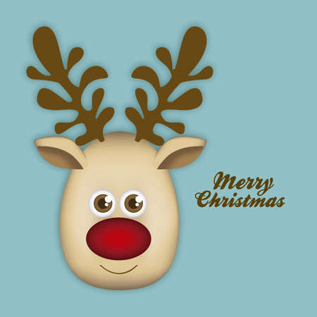 Illustration of cartoon Christmas Reindeer, Rudolph the reindeer, vector illustration Vector