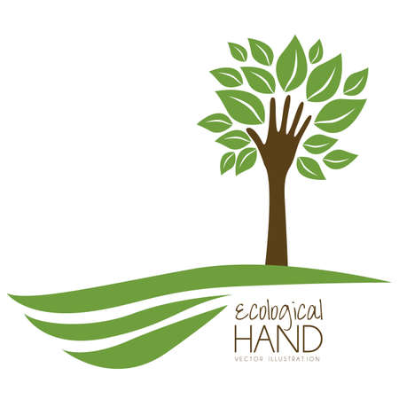 ecologically: Illustration recycling, hand forming a tree with leaves, helping nature, vector illustration Illustration