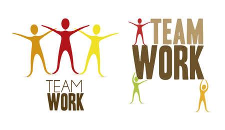 person thinking: silueta de muchas personas juntas, trabajo en equipo, uni�n, ilustraci�n vectorial