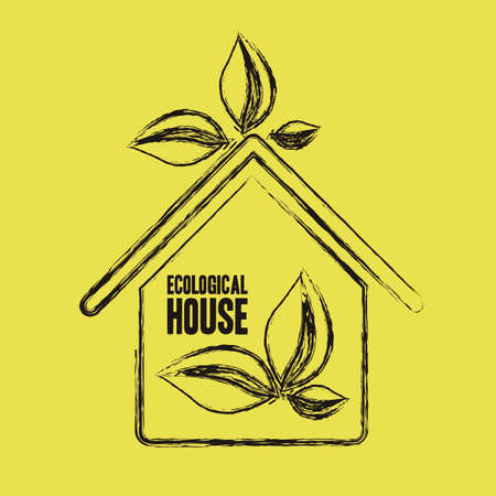 Illustration recycling, ecological grunge house with leaves, vector illustration Vector